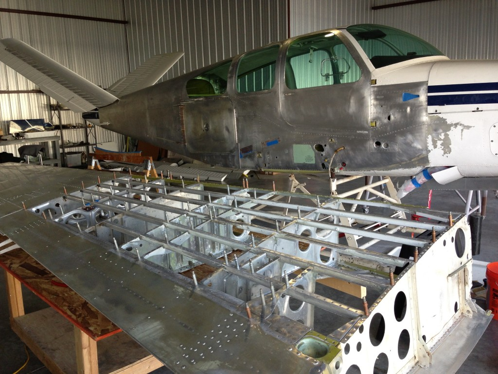Left wing in the process of restoration.